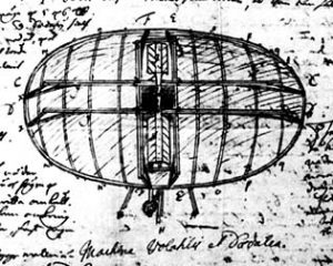 The Flying Machine, sketched in his notebook from 1714