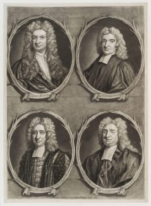 Worthies of Britain' (Sir Isaac Newton; Edmond Halley; Nicholas Saunderson; John Flamsteed) by John Bowles