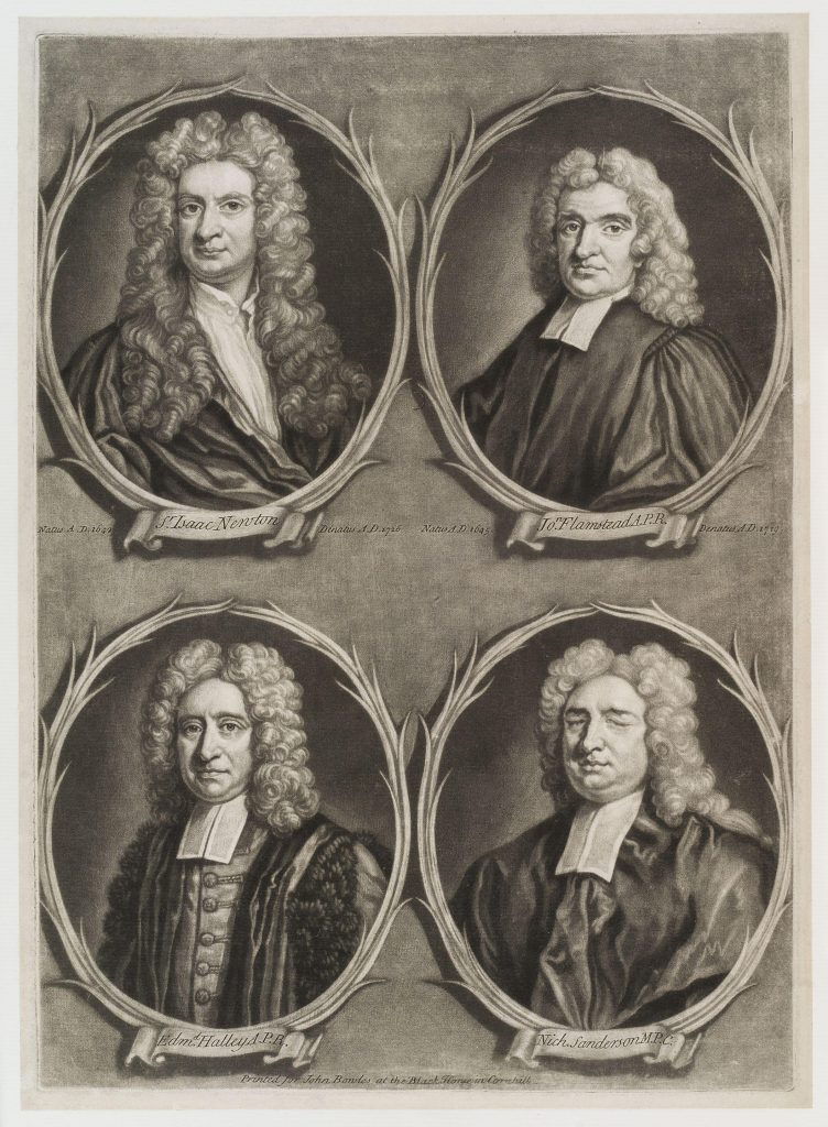 Four engravings in round frames